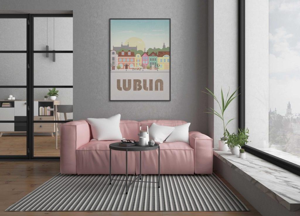 Plakaty Hunny Bagder inspirowane podróżami - plakat Lublin
