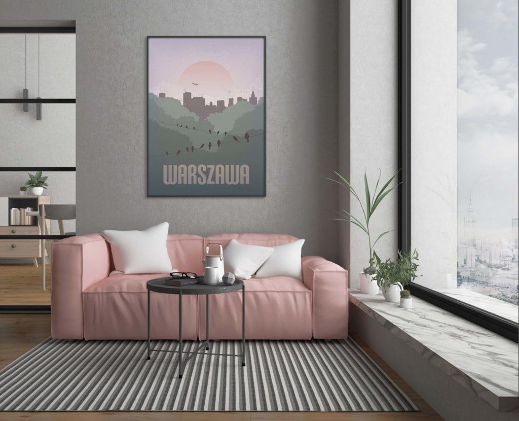 Plakaty Hunny Bagder inspirowane podróżami - plakat zachód słońca nad Warszawą