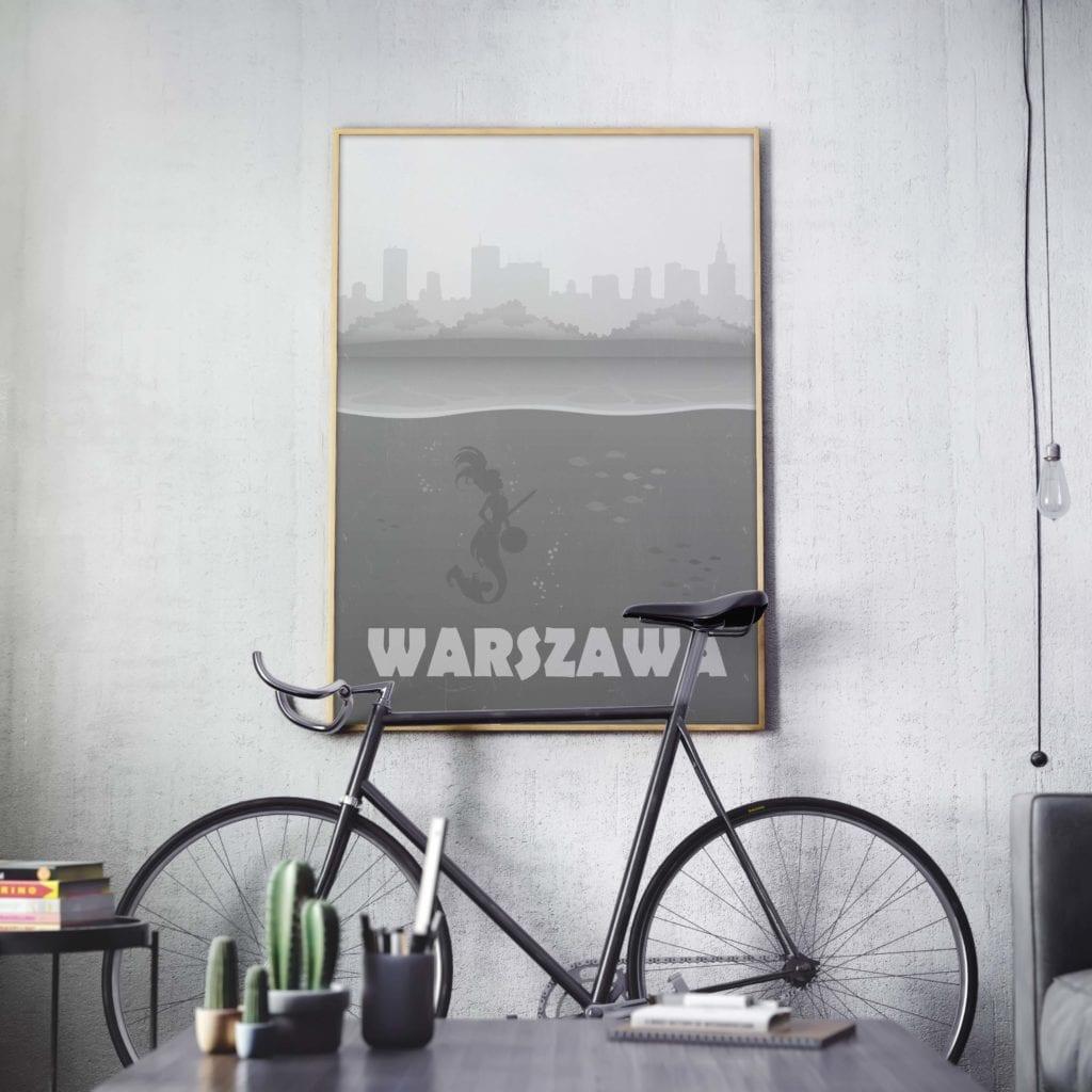 Plakaty Hunny Bagder inspirowane podróżami - plakat syrenka Warszawska