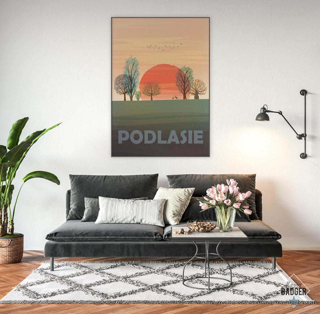 Plakaty Hunny Bagder inspirowane podróżami - plakat Podlasie