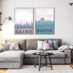 Plakaty Hunny Bagder inspirowane podróżami - plakaty Tatry i Bałtyk