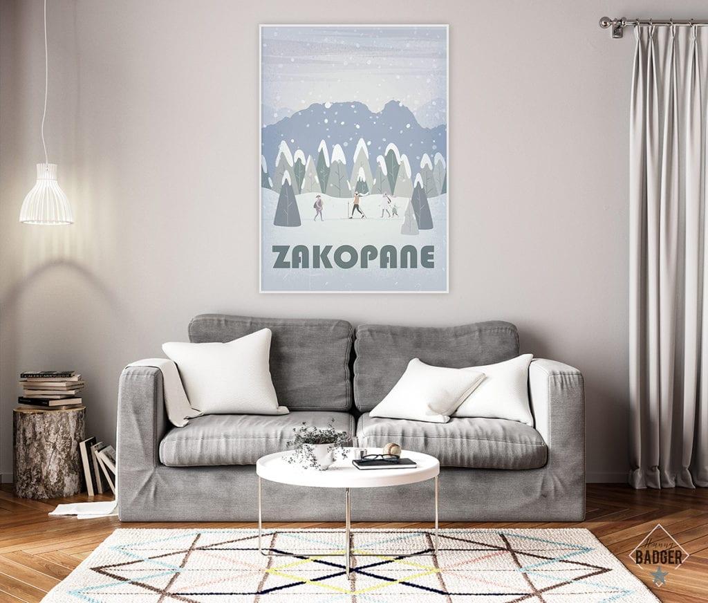 Plakaty Hunny Bagder inspirowane podróżami - plakat Zakopane