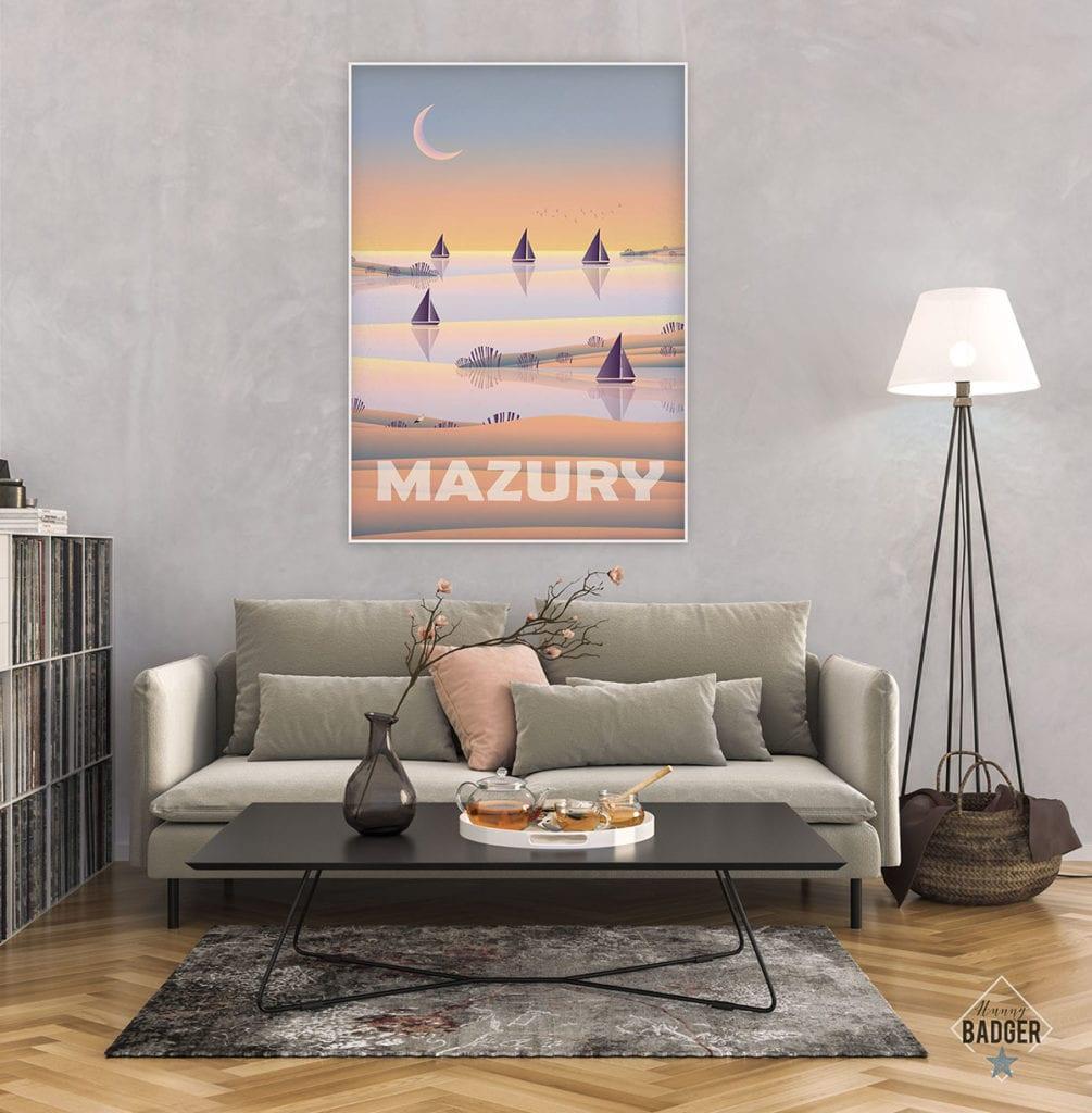 Plakaty Hunny Bagder inspirowane podróżami - plakat Mazury