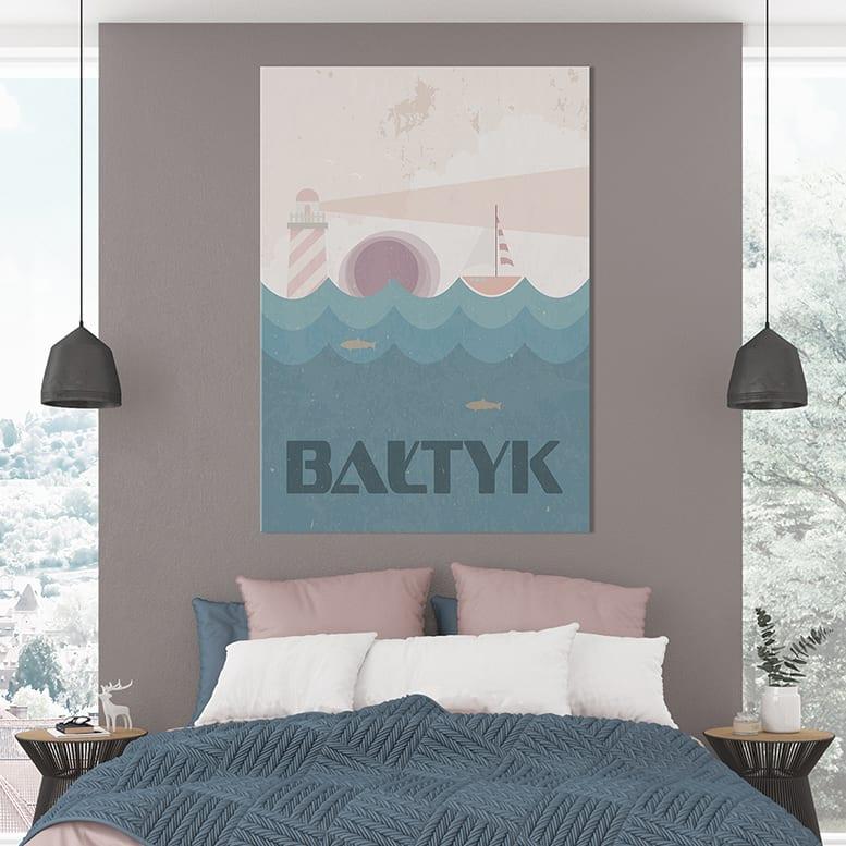 Plakaty Hunny Bagder inspirowane podróżami - plakat Bałtyk z latarnią morską
