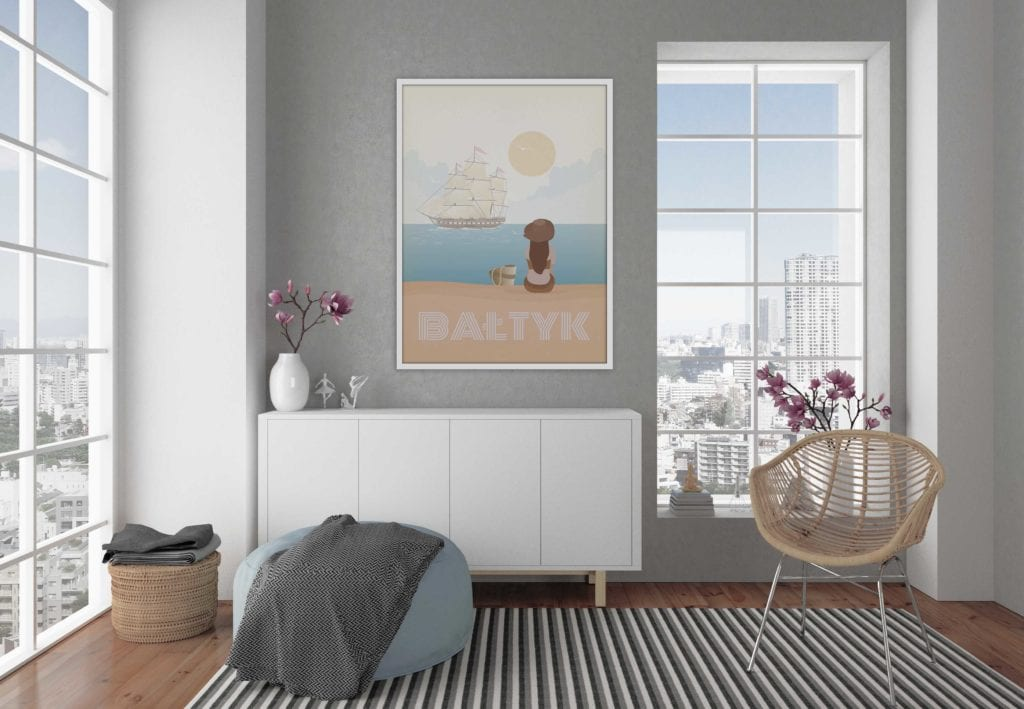 Plakaty Hunny Bagder inspirowane podróżami - plakat Bałtyk z plażą