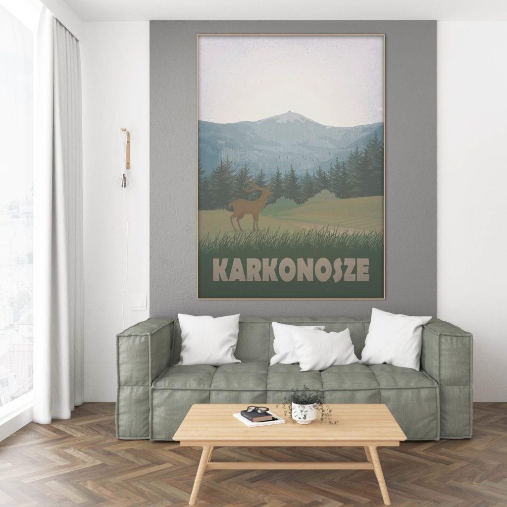 Plakaty Hunny Bagder inspirowane podróżami - plakat Karkonosze