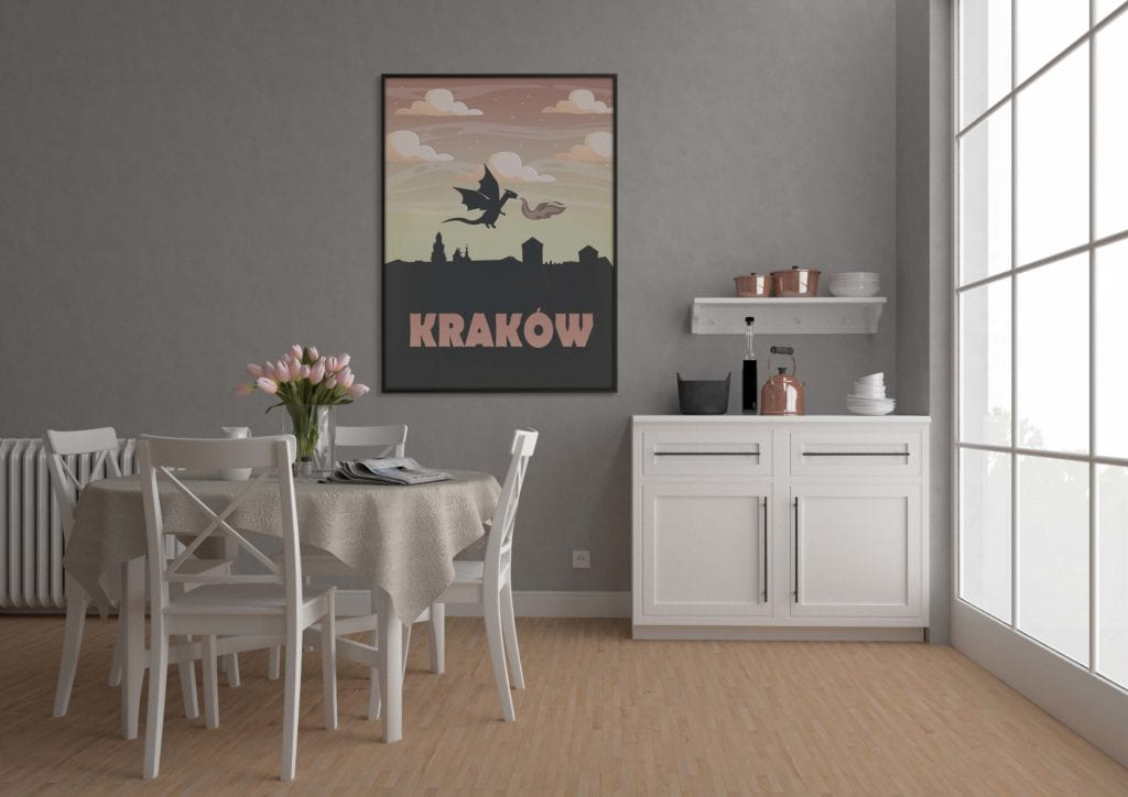 Plakaty Hunny Bagder inspirowane podróżami - plakat Kraków