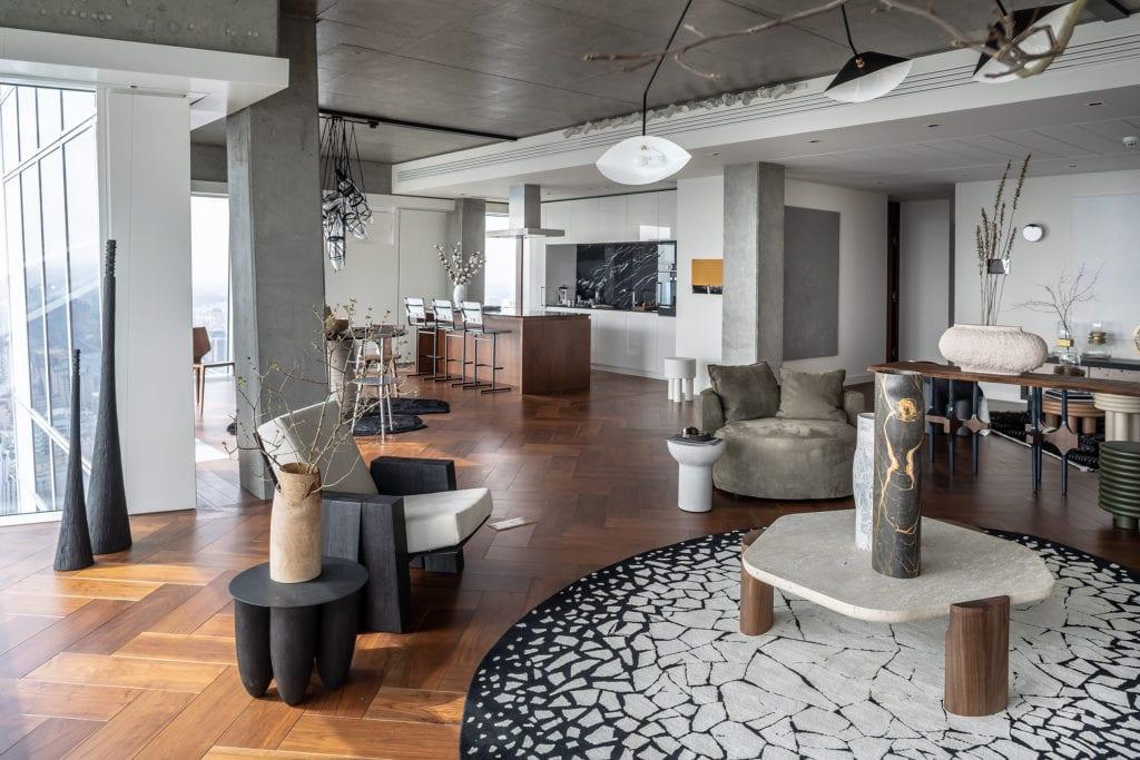 The Signature Apartment - salon - apartament na Złotej 44 - projekt Kooku Konrad Kudraszow
