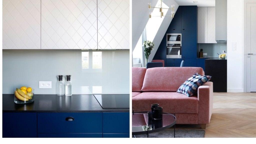 Połączenie niebieskiego i białego koloru w warszawskim mieszkaniu projektu Sojka & Wojciechowski