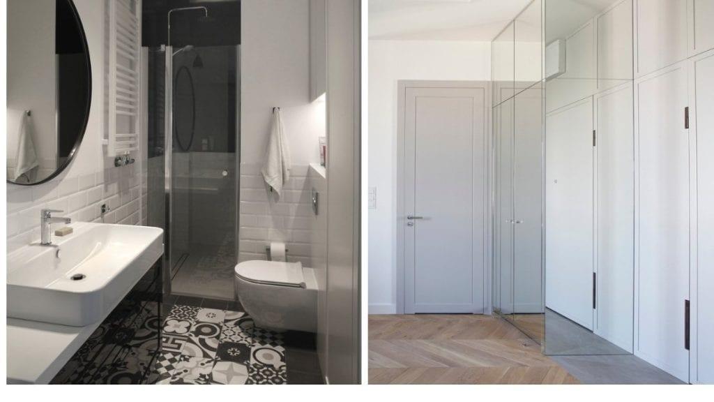 Łazienka i szafa w sypialni w mieszkaniu projektu Sojka & Wojciechowski