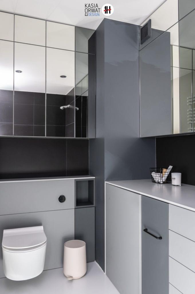 Zabudowa w łazience w mieszkaniu projektu Katarzyny rwat