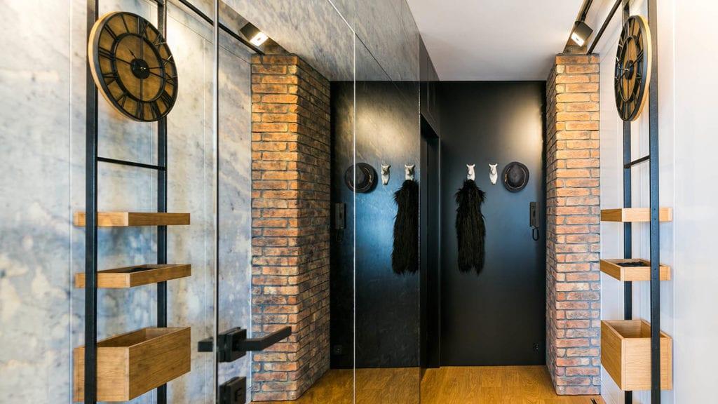 Przedpokój w mieszkaniu w Łodzi projektu pracowni 3DProjekt w stylu steampunk