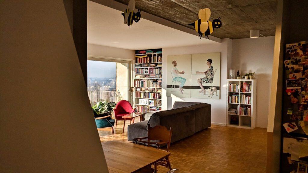 Salon z dużą sofą, fotelami i regałem z książkami w kubistycznym apartamencie projektu Agnieszki Gansiniec z pracowni D44 architecture