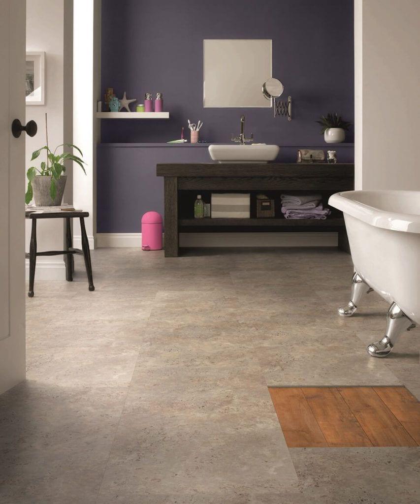 Pokój kąpielowy z winylową podłogą Designflooring