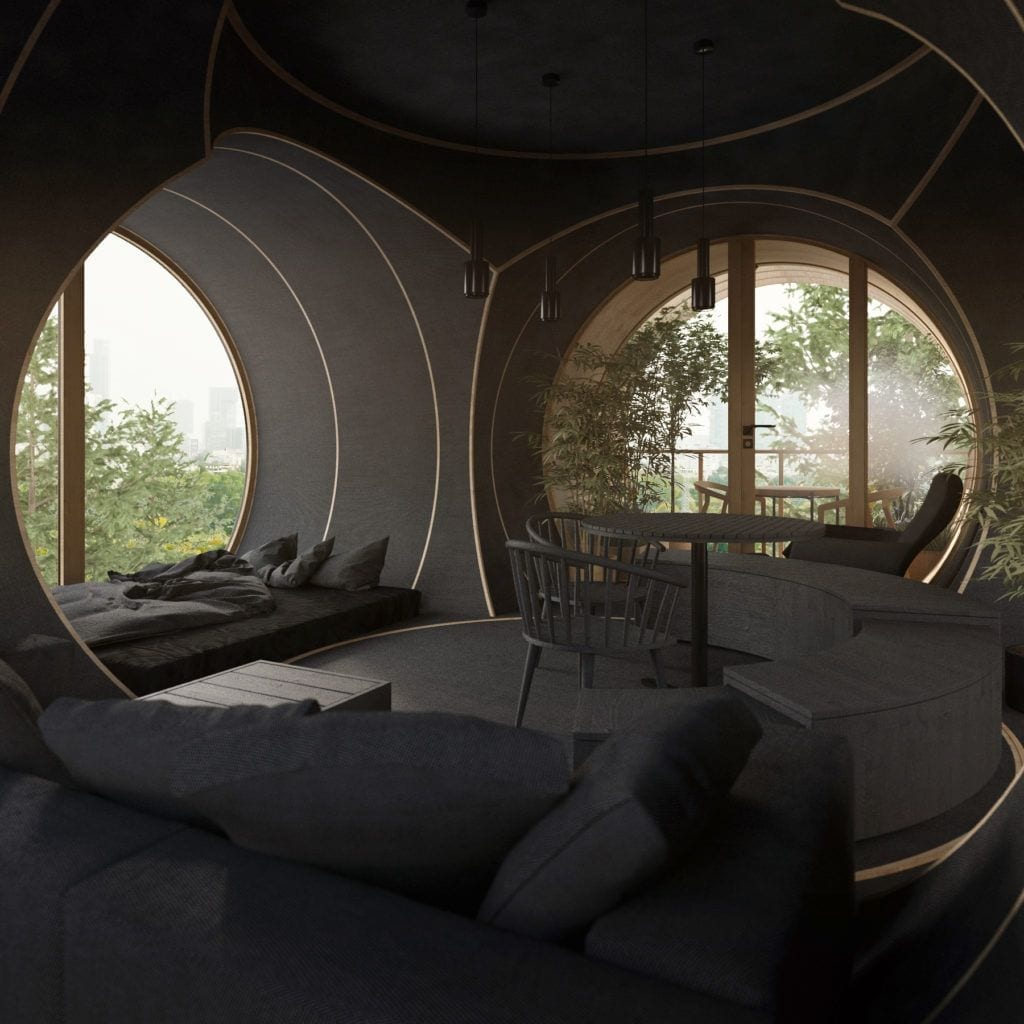 Salon w domku na drzewie projektu Studio Precht