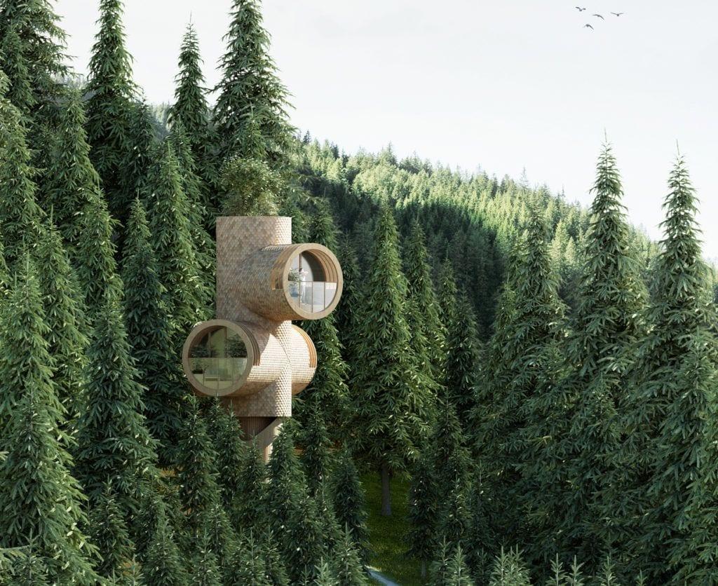 Domek wpisujący się w las projektu Studio Precht