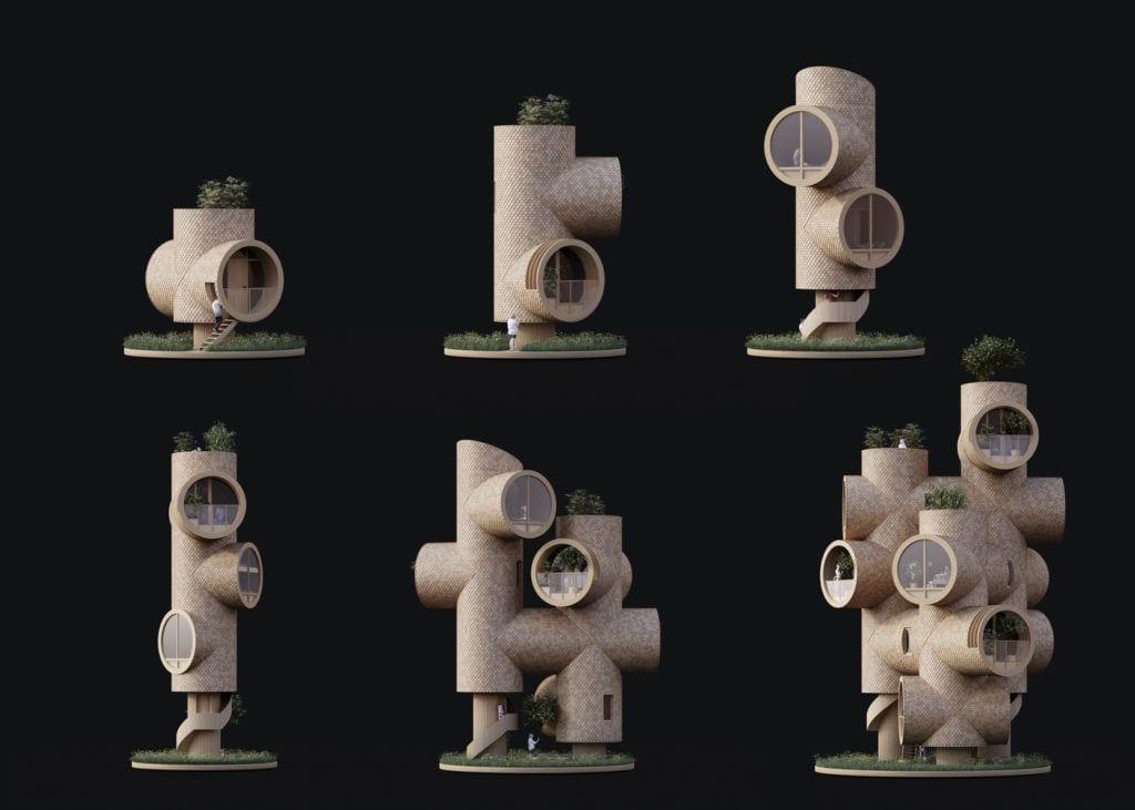 Szkic poglądowy domku Bert projektu Studio Precht
