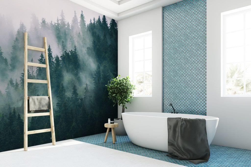 Fototapety w łazience z motywem lasu