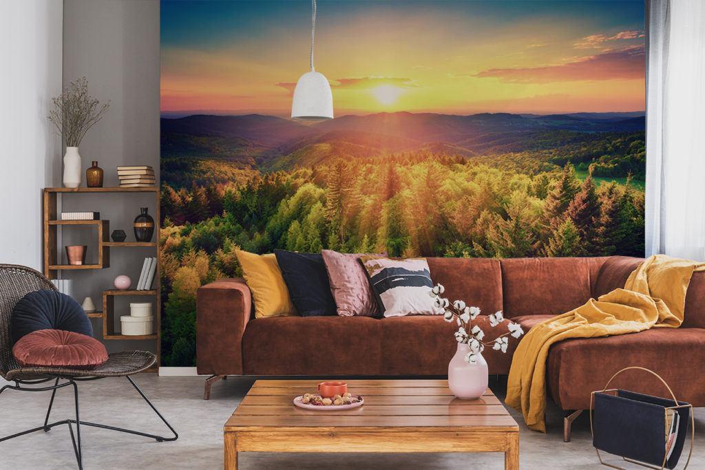 Fototapety w salonie z motywem lasu