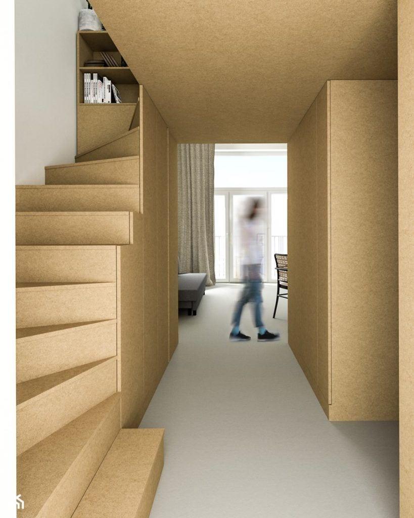 Drewniane schody w mieszkaniu - projekt Kuba Krysiak