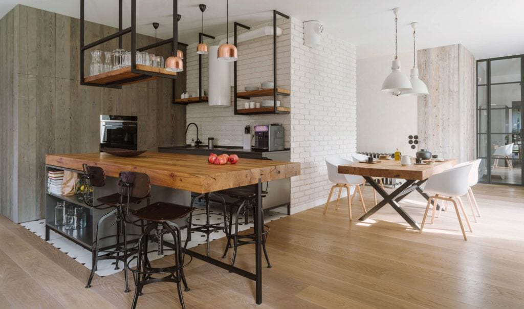Kuchnia z jadalnią w mieszkaniu projektu Studio O