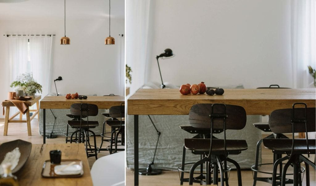 Drewniany stół w mieszkaniu projektu Studio O