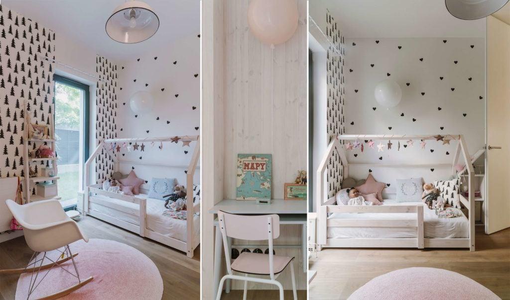 Pokój dziecięcy z dużym drewnianym łóżkiem w mieszkaniu projektu Studio O
