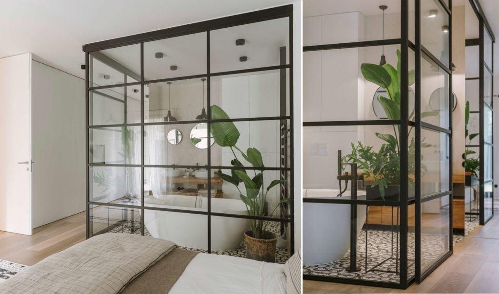 Łazienka z dużą wanną połączona z sypialnią w mieszkaniu dla pary z dwójką dzieci projektu Studio O