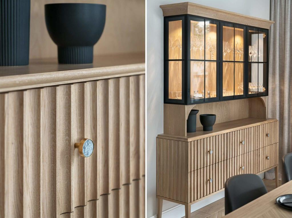Drewniana szafka w modernistycznej willi na Saskiej Kępie