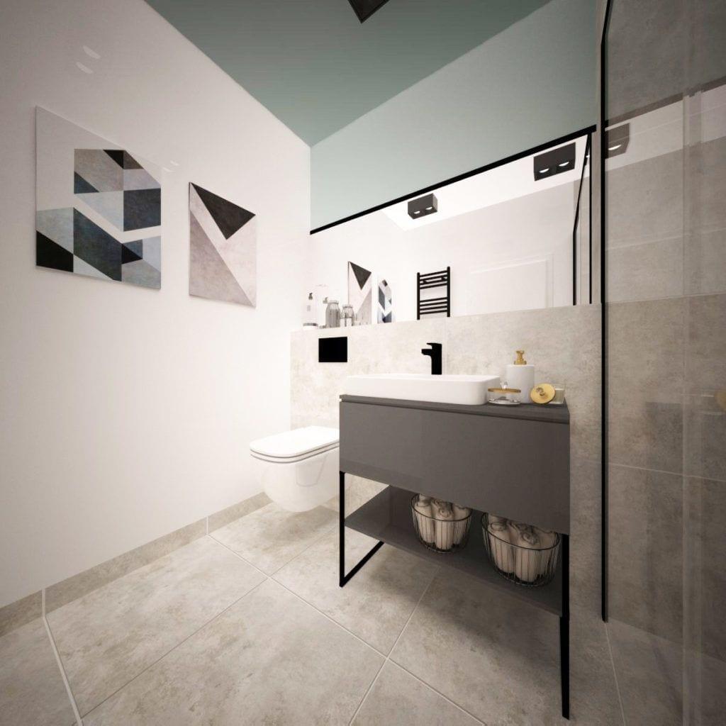 Toaleta z jasną podłogą w Pacific Residence Warszawa Powiśle