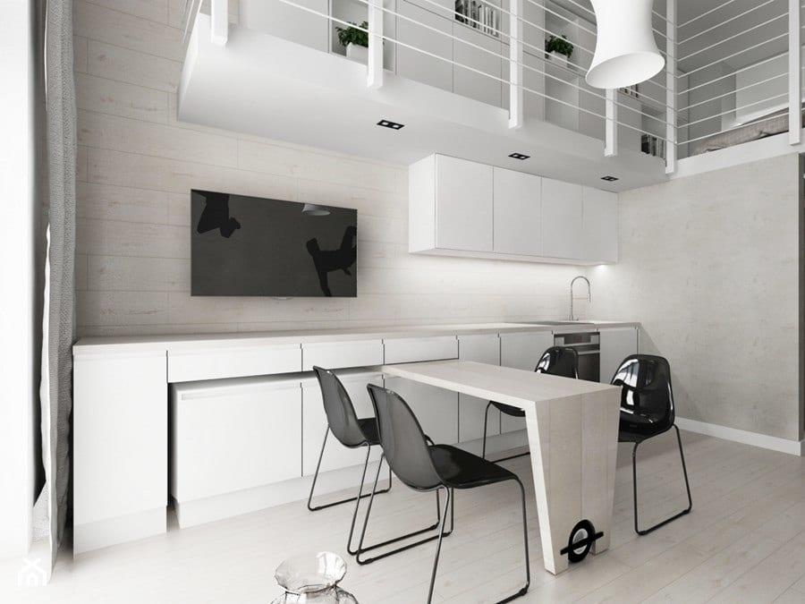 Biała jadalnia - projekt Piotr Skorupski Studio Architektury