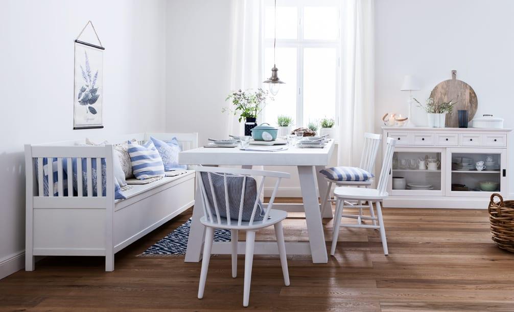 Jadalnia z salonem inspirowana Grecją