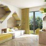 Łóżko w ścianie w projekcie domu Corner House