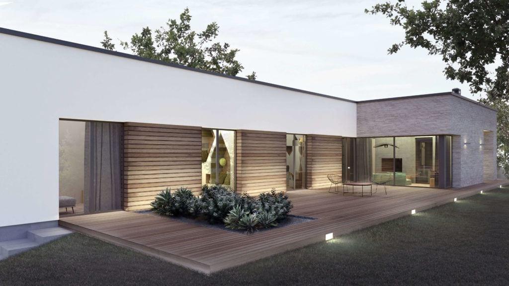 Duży taras w domu Corner House