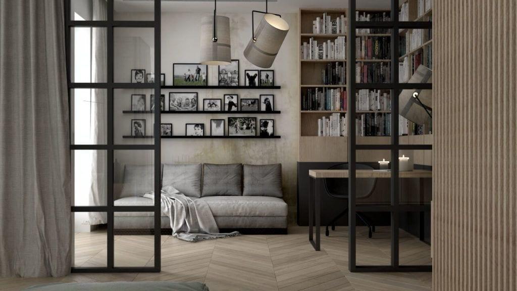 Pokój z piękną drewnianą podłogą i szarą sofą