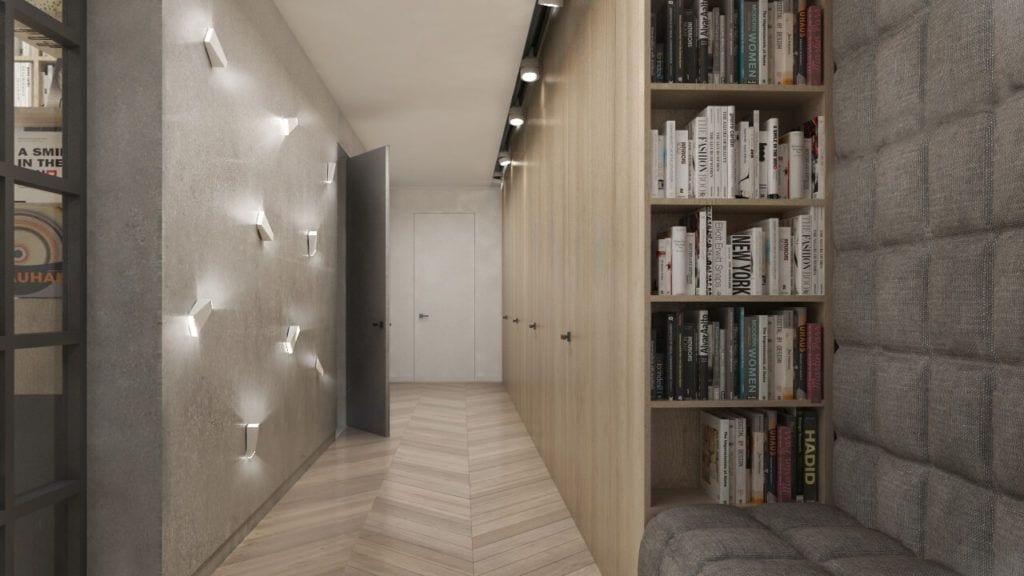 Drewniana podłoga holu domu