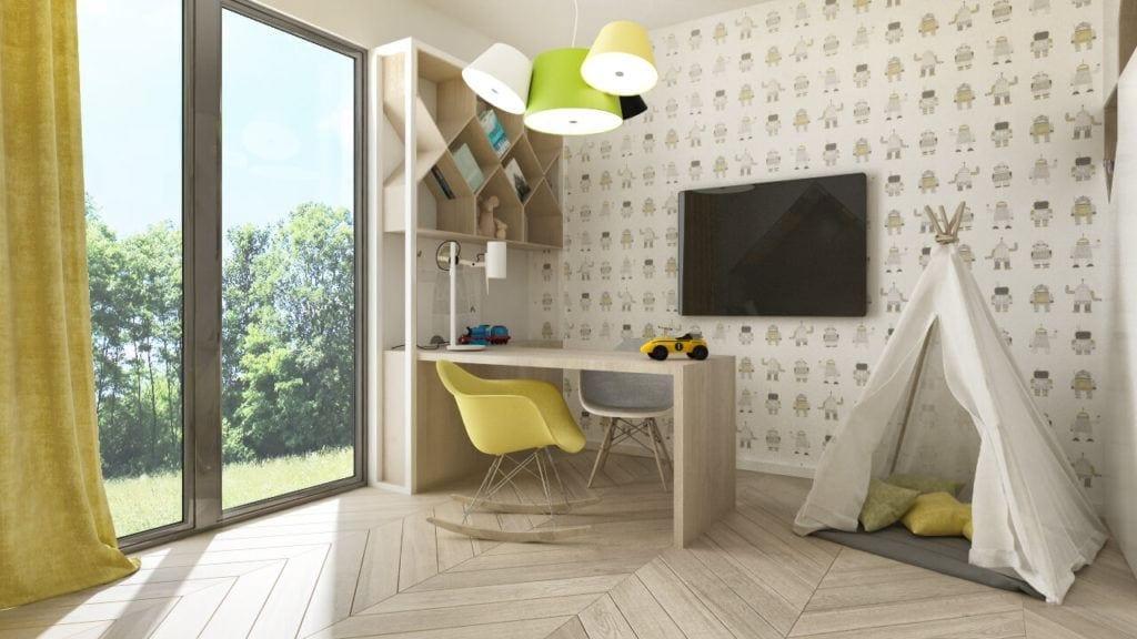 Jasny pokój dziecięcy z drewnianą podłogą i żółtym krzesłem