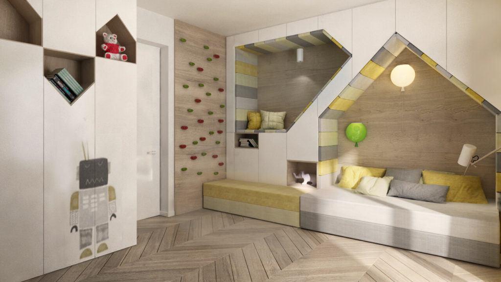 Pokój dziecięcy w domu Corner House z zabudową w ścianie