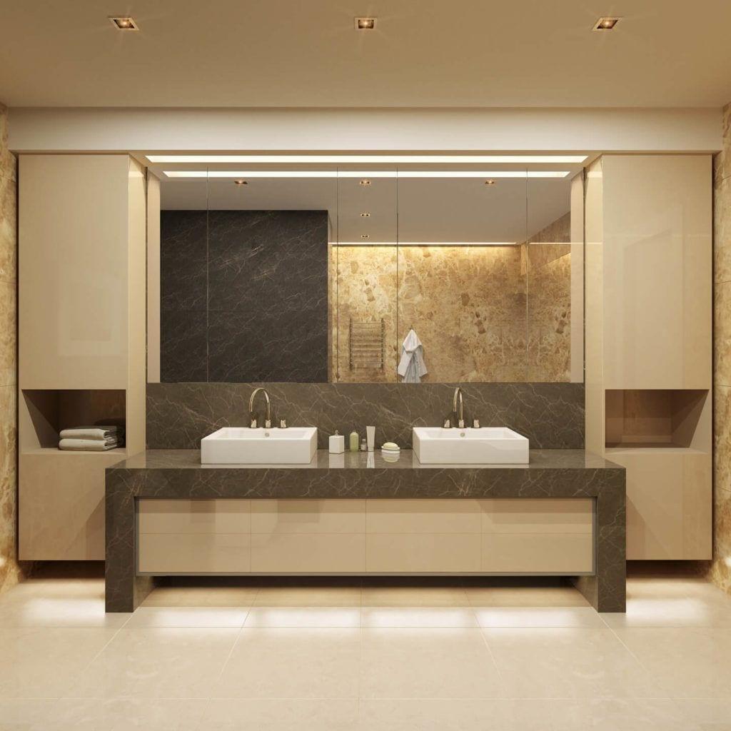 Beżowy marmur Crema Marfil w łazience