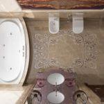 Marmur Crema Marfil na podłodze w łazience