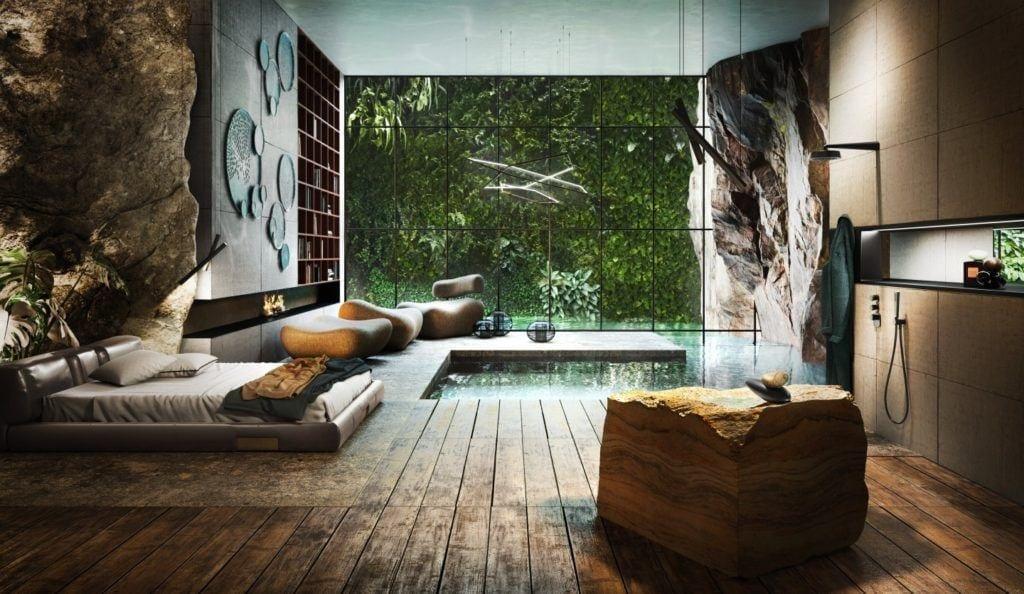Designerska armatura Gessi z serii Equilibrio inspirowana pięknem natury - łazienka z motywami roślinnymi