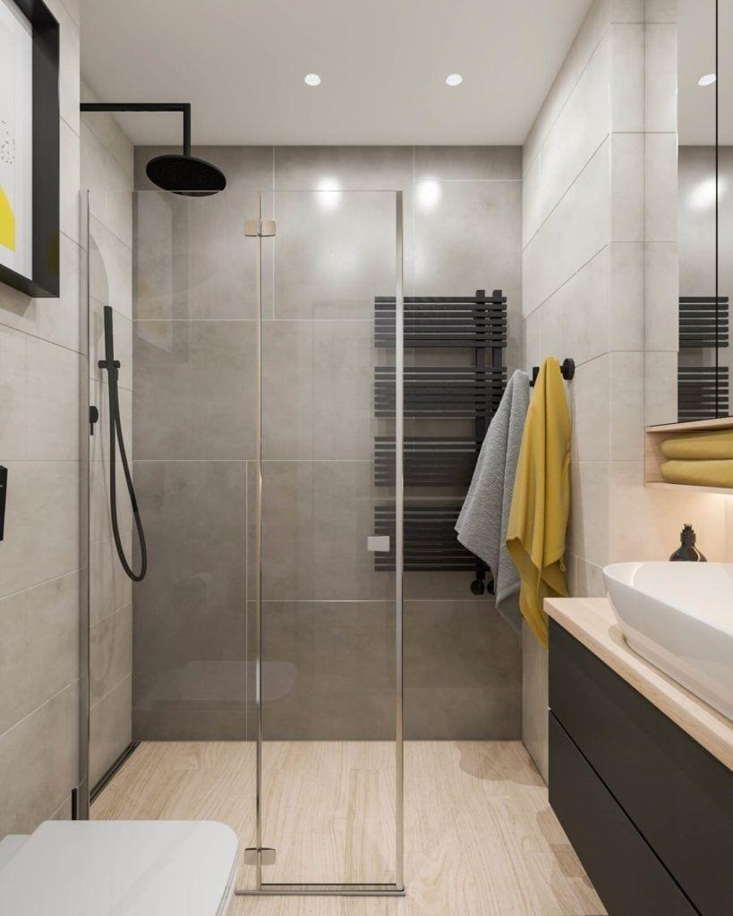 Łazienka z betonowymi detalami w łódzkim mieszkaniu projektu Marty Ogrodowczyk i Marty Piórkowskiej