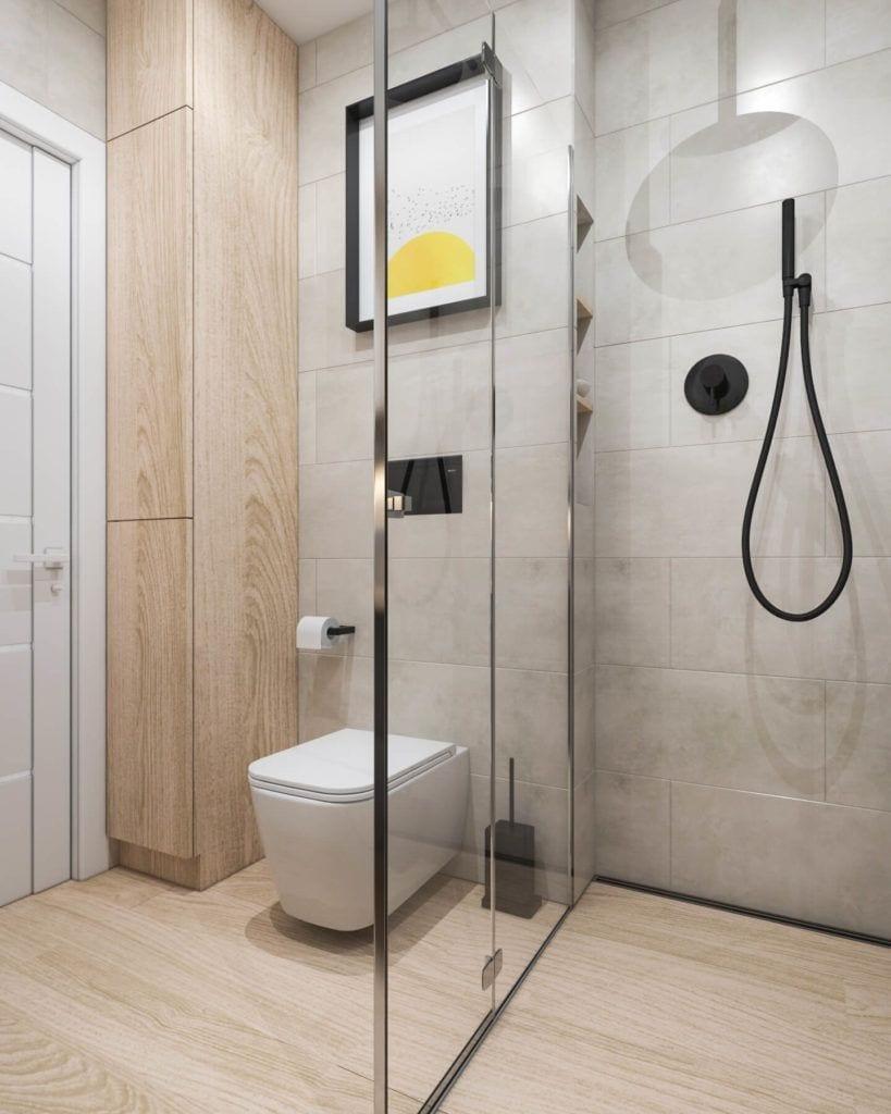Kabina prysznicowa w łazience w łódzkim mieszkaniu projektu Marty Ogrodowczyk i Marty Piórkowskiej