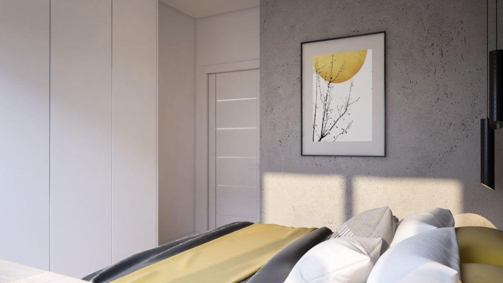 Sypialnia z obrazem na ścianie w łódzkim mieszkaniu projektu Marty Ogrodowczyk i Marty Piórkowskiej