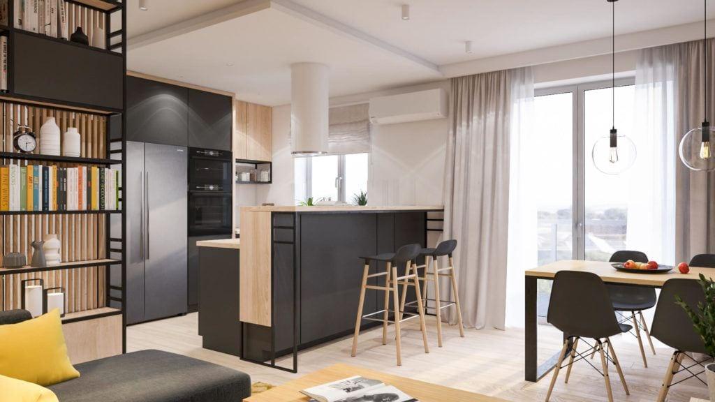 Salon połączony z jadalnią w łódzkim mieszkaniu projektu Marty Ogrodowczyk i Marty Piórkowskiej