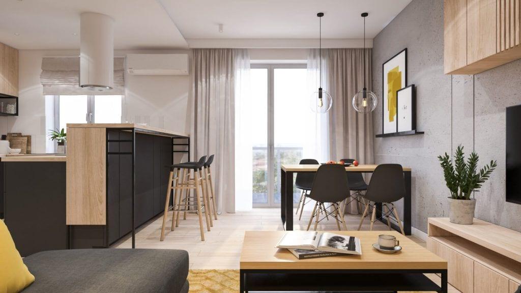Salon z czarnymi krzesłami w łódzkim mieszkaniu projektu Marty Ogrodowczyk i Marty Piórkowskiej