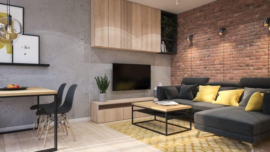 Salon z drewnianym stolikiem w łódzkim mieszkaniu projektu Marty Ogrodowczyk i Marty Piórkowskiej