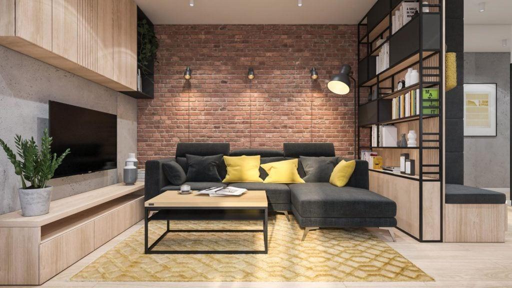 Salon z drewnianym stolikiem i ciemną kanapą