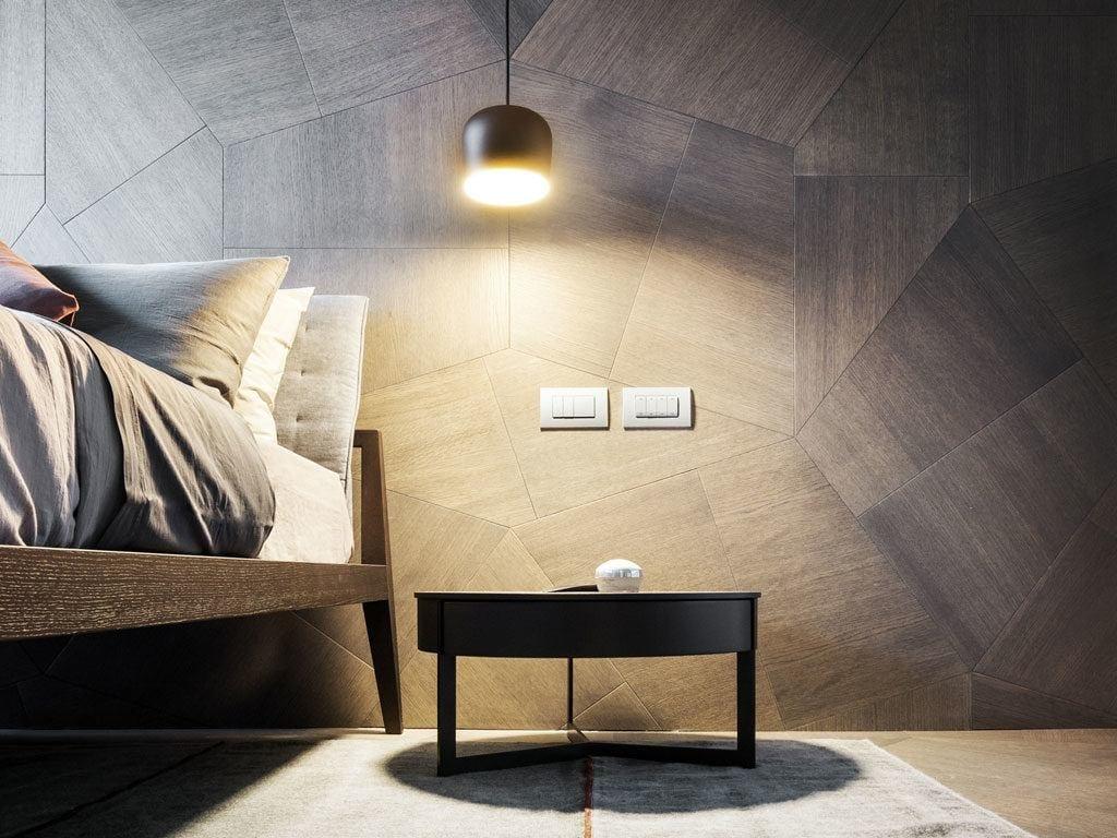 Dekoracja na ścianie w sypialni w Penthouse One-11 projektu Zaha Hadid Architects