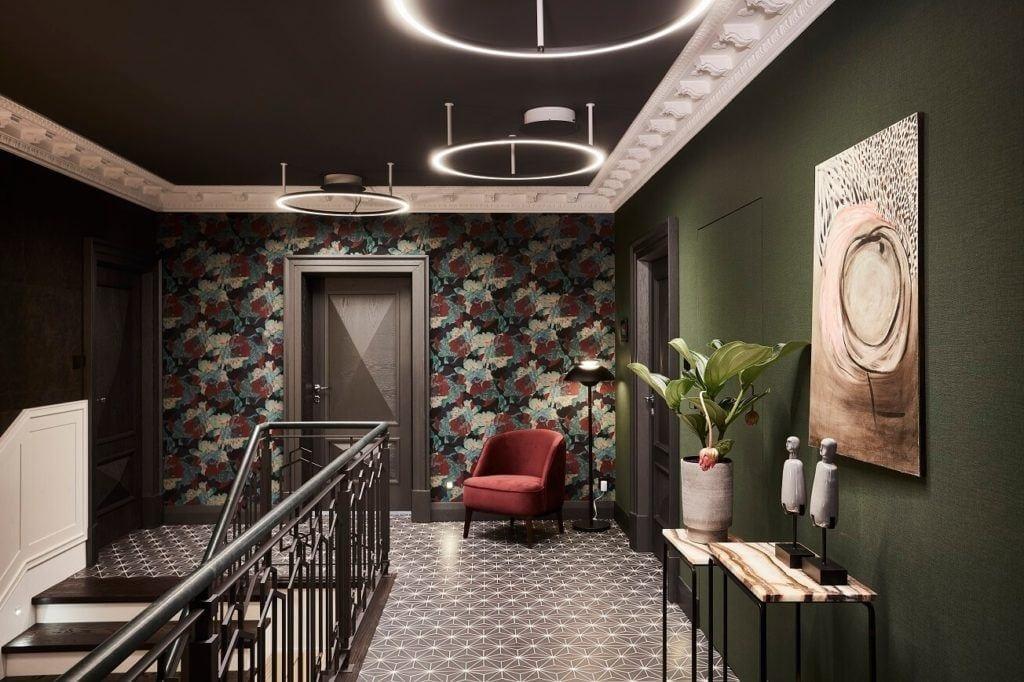 Piękna tapeta w romby na ścianie w domu projektu pracowni mDom
